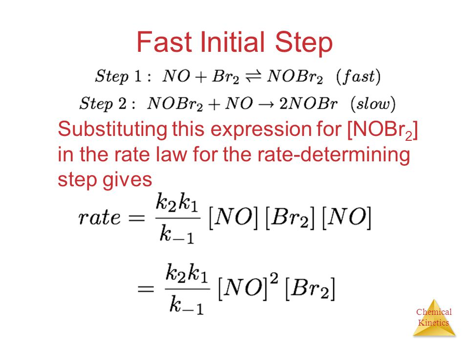 Fast Initial Step Substituting this expression for [NOBr2] in the rate law for the rate-determining step gives.
